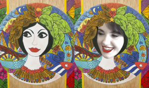 Grace Sontologo photo comparison with the Hechicera artwork